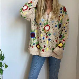 Zara embroidered oversized sweater M medium